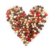 Especiarias com forma de coração de pimenta cor branco — Foto Stock