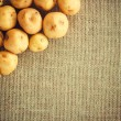 Pile of potatoes on burlap sack — Stock Photo
