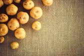 Pile of potatoes on burlap sack — Stock Photo