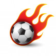 Burning soccer ball on white — Stock Vector