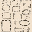Stock Vector: Frames and design elements collection hand drawn