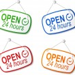 Stock Vector: Open 24 hours signs on white