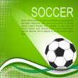 Stock Vector: Soccer ball in green background with curves and halftones