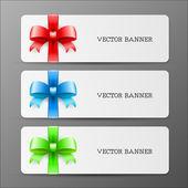 Büyük yay ve kırmızı yeşil ve mavi renk kurdele ile kartları — Stok Vektör
