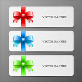 Cards with big bow and ribbon in red green and blue colors — Stock Vector