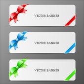Cartões com arco e fita em cores vermelhas, verde e azul — Vetorial Stock