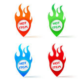 Hot item pointers with fire in green red orange and blue colors — Stock Vector