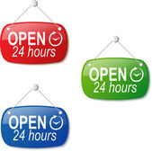 Open 24 hours signs in red green and blue on white — Stock Vector