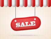 Obchod střecha s prodej červené znaménko — Stock vektor