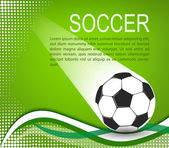 Soccer ball in the green background with curves and halftones — Stock Vector