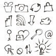 Stock Vector: Web icons hand drawn