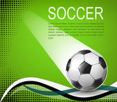 Soccer ball on green background with black halftones — Vector de stock