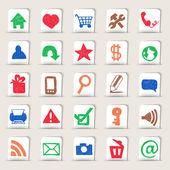 Webové ikony ručně kreslenými na papírové samolepky — Stock vektor