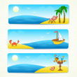 Beach banners with hand drawn design — Stock Vector