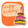 Royalty-Free Stock Imagen vectorial: Birthday card hand drawn with cake
