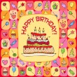 Birthday card with hand drawn elements - Vettoriali Stock