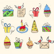 Royalty-Free Stock Vector Image: Birthday elements hand drawn set
