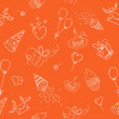 Birthday hand drawn seamless on orange — Imagens vectoriais em stock