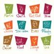 mano de café menú dibujar iconos en color — Vector de stock  #24408237