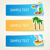 Beach banners with hand drawn elements — Stock Vector