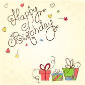 Cartas de cumpleaños dibujado con regalos — Vector de stock