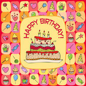 Birthday card with hand drawn elements — Stock Vector