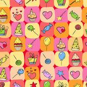 Birthday elements hand drawn seamless — Stock Vector