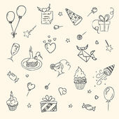 Birthday hand drawn sketch icons — Stock Vector
