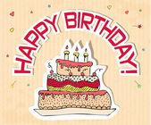 Kartka urodzinowa z ciasta duża — Wektor stockowy