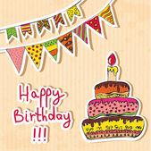 Birthday card with cake and flags — Stock Vector