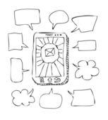 Szkic telefon komórkowy z wypowiedzi — Wektor stockowy