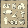 Web icons hand drawn on dark paper - Stock Vector