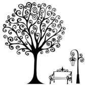 Swirl hand drawn tree bench and lamp for your design — Stock Vector