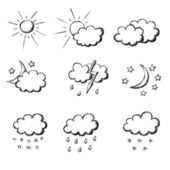 Weather hand drawn icon set — Stock Vector