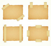 Vector cardboard labels attached with a sticky tape — Stock Vector
