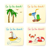 Beach stickers with hand drawn elements — Stock Vector