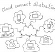 Cloud computing hand drawn illustration — Stock Vector #24790001