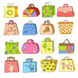 Collection of hand drawn colorful bags — Stock Vector
