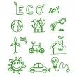 Stock Vector: Eco hand drawn doodles