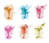 Cocktail doodles — Stock Vector