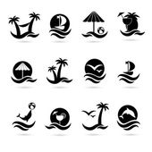Beach icons — Stock Vector