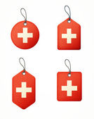 Vector set of labels with swiss flag — Stock Vector