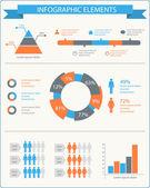 Elementos do infográfico detalhado conjunto com gráficos e organogramas — Vetorial Stock