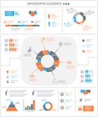 Detailed infographic elements set with graphics and charts — Stock Vector