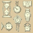 Hand drawn clocks set — Stock Vector