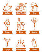 Cafe menu food icons hand drawn — Stock Vector