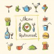 Cafe menu food and drinks hand drawn icons — Stock Vector #27691313