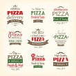 Set of premium quality pizza labels — Stock Vector