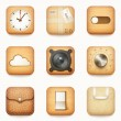 Stock Vector: Set of textured wooden paper and leather app icons on rounded co