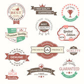Collection of premium quality vintage labels and badges — Stock Vector